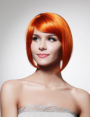 capless synthétique menton longueur d'orange bob perruque de cheveux de style