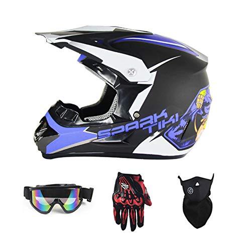 M XL HWJF Casque de Motocross Adulte Casque de Moto MX Casque de VTT ATV Scooter Certification D.O.T Masque de Gants de Protection 4 Jeux S L