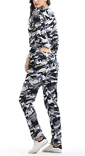Donna Tuta 2 Pezzi Inverno Felpa Moda Giovane E Lunghi Pantalone Vintage Camouflage Elegante Fashion Maniche Lunghe Rotondo Collo Casual Moda Pullover Felpe Crop Top Pantaloni Lungo Grigio