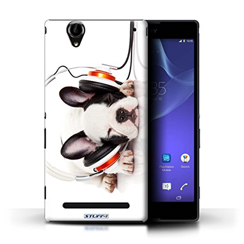 Stuff4® Hülle/Hülle für Sony Xperia T2 Ultra/Hund Köpfhörer Muster/Lustige Tiere Kollektion