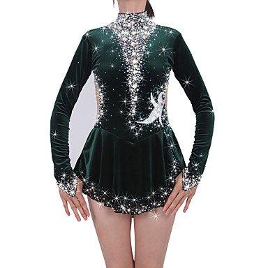 Heart&M Handgefertigt Rollschuhkleid Eiskunstlauf Kleider für Mädchen Kinder Langärmlig SAMT Eislaufen Wettbewerb Kostüm Grün, 8