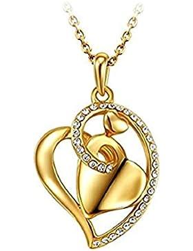 18k Gold Halskette Herz Österreichisches Kristall 3D Damen Geschenk mit Geschenkverpackung