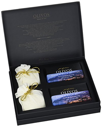 OLIVOS Parfum Set Cote d'Azur Glitter Savon 2 x 250 g Savon en Poudre 2 x 100 g