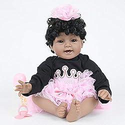 Hongge Reborn Baby Doll,Silicona Realista muñecas rizadas africanas Simulación de baño muñecas bebé Regalos de Juguete para niños 55cm