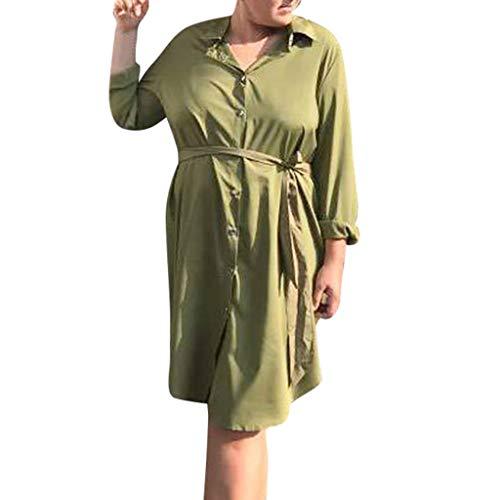 Amphia Damen Casual Blusenkleid,3/4 Ärmel Freizeit Mini Sommerkleid Mit Gürtel,Frauen V-Ausschnitt Solid Color Long Sleeve Casual Formal Sexy Gürtel Kleid (Sexy Beanies)