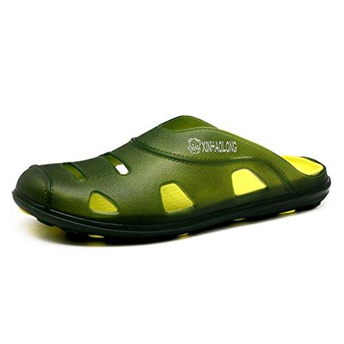 Sommer Badeschuhe Ultraleicht Atmungsaktiv Hausschuhe Rutschfest Weiche Flach Herren Schuhe Freizeit Outdoor Slippers Waschbar Grün