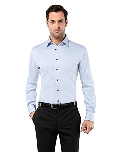 Vb- Camicia da uomo, aderente, non si stira, tinta unita con cuciture a contrasto ice-blue 42 cm