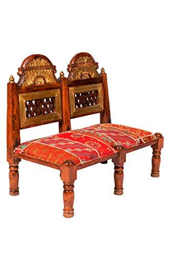 Orientalische Sitzbank aus Holz Mahal 95cm groß mit Messing | Vintage Bank zum klappen für den Flur | Patchwork Hocker...
