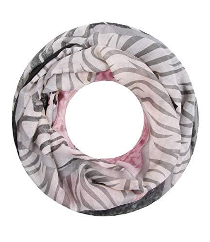 Majea NEUE Saison Damen Loop Schal viele Farben Muster Schlauchschal Halstuch in aktuellen Trendfarben (rosa 22) -