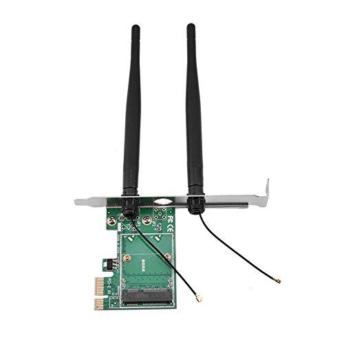 ASHATA Mini PCI-E zu PCI-E Adapter Karte, Mini PCI-E auf Desktop PCI-E Wireless Netzwerkkarte,Halbhohe PCI-E Karte PCI-E 1x WLAN-Karte mit 2 Externe 3.5DB Antennen für Laptop auf Desktop-PC -