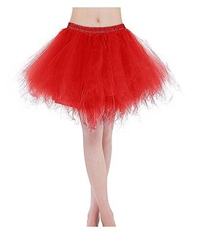 Bridal_Mall Damen Kurz Tutu Petticoat für Abendkleider Ball Partykleider Unterrock Unterkleider Rot