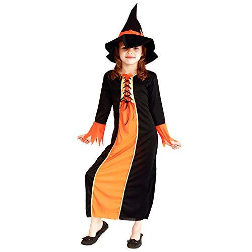Kinder Baby Mädchen Hexe Dress Up Halloween Kinder Durchführung Kleidung Kostüm Kleid Party Kleider + Hexenhut Kinder Mädchen Halloween Kleidung Kostüm ( Color : Orange , Size : XL(10-12years) )