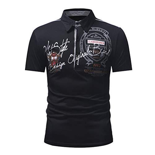 Herren Revers T-Shirt mit kurzen Ärmeln Mode Brief Button Persönlichkeit Shirt Kurzarm T-Shirt Bluse Tops Zolimx (Under Armour Punisher)