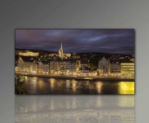 Keilrahmenbild xxl günstig & modern (Zürich-60x110cm) Stadt Deko Bilder fertig gerahmt mit...