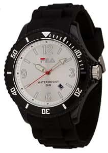 Fila - FA-1023-46 - Montre Mixte - Quartz Analogique - Cadran Blanc - Bracelet Silicone Noir
