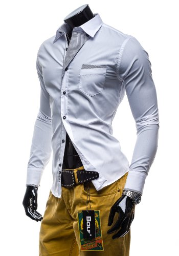 BOLF - Chemise classique - Multicolore – BOLF 4713 – Homme Blanc