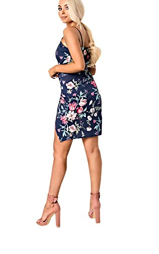 Women's Ladies Floral Wrap Split Dress Blue