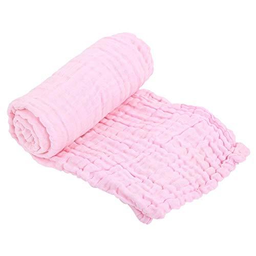 Baby Badetuch multifunktionale atmungsaktive 6 Schichten Baumwollgaze Decke Quilt Badetuch Waschlappen für Neugeborene, 41.33 x 41.33 inch(Rosa)