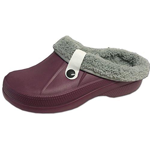 Clogs Hausschuhe Clog von JEMIDI warm gefüttert Hausschuh Kinder Damen Herren Jungen Schuhe Bordeaux 37