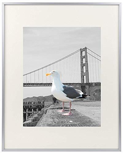 Frametory 16x 20Metall Bilderrahmen Collection, Aluminium Bilderrahmen mit elfenbeinfarbenem Farbe Matte für 11x 14Bild & Echtglas 16x20 Silber (11 14 X Metall-bilderrahmen)