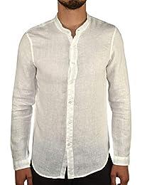 62361a79ab4518 1stAmerican Camicia Puro Lino da Uomo con Collo alla Coreana Made in Italy