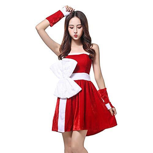 Sexy Kostüm Handschuhe Santa - XIADE Damen Weihnachtsmann Kostüm 3-teiliges Set Sexy Schulterfreies Kleid Und Handschuhe Kostüm Weihnachtsmann Cosplay Kostüm