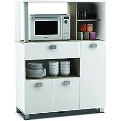 habeig Küchenschrank 146 weiß Küchenregal Küchenmöbel Mikrowellenschrank Buffetschrank Küche