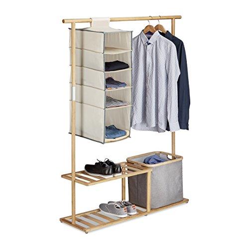 Relaxdays Garderobenständer Bambus, Kleiderständer mit Ablage und Aufbewahrung, Garderobe mit Kleiderstange, natur