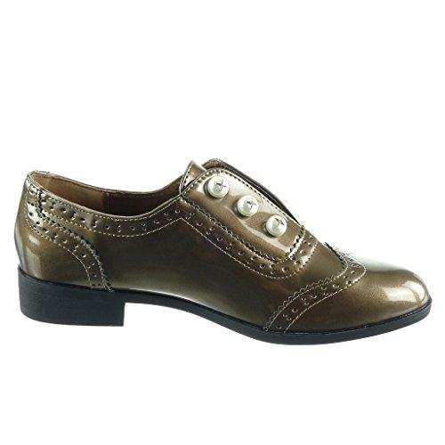 Angkorly - damen Schuhe Derby-Schuh - Slip-On - Perle - Perforiert - Patent Blockabsatz 2.5 CM Gold