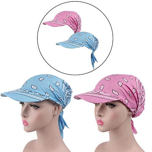 Anti-UV Sonnenschutz Sun Cap, Women Brim Visor Turban Baseball Cap, Golf Sonnenblende Hut für Outdoor-Sport (Hellblau + Rosa)