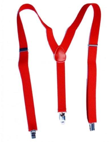EOZY Unisex Men Women Clip-on Elastic Suspenders Y-Shape Back Braces Punk Disco Dance Costume Party (Red)