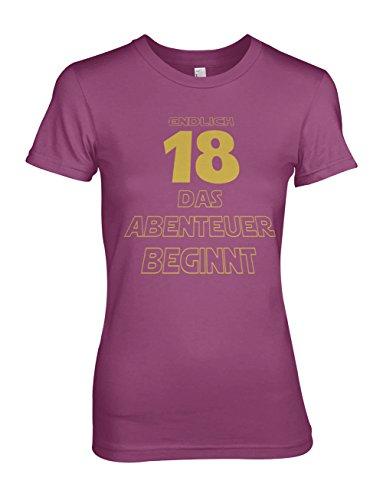 Endlich 18 Das Abenteuer Beginnt Original Geschenk Zum 18 Geburtstag Damen T-Shirt Pink XX-Large (Fitted T-shirt Abenteuer)