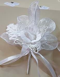 Set 6 pezzi, Bomboniera bouquet fiore stoffa e merletto con racchettine x segnaposto, PORTACONFETTI (ck2084) (BIANCO)