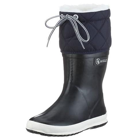 Aigle Giboulee Gummistiefel 2453 Unisex-Kinder Warm gefüttert Gummistiefel Langschaft Stiefel & Stiefeletten, Blau (Marine/Blanc), 37