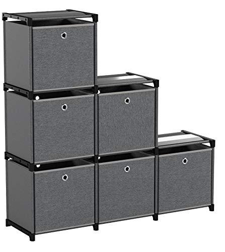 SONGMICS DIY Estantería Modular con Cajas con 6 Cubos Estantería Multifuncional para Libros Marco Metálico con Martillo de Goma 105 x 30 x 105 cm (Largo x Ancho x Alto) Negro LSN66BK