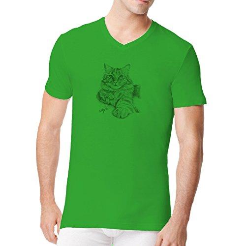 Fun Männer V-Neck Shirt - Gray Cat by Im-Shirt Kelly Green