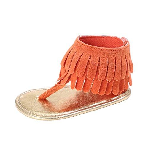 Auxma Baby Mädchen Krippe Schuhe Neugeborene Blume Soft Sohle Anti-Rutsch Baby Sneakers Sandalen für 3-18 Monate (6-12 M, Blau) Orange
