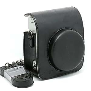 [Fuji Instax Mini 90 Case]- CAIUL Vintage Comprehensive Protection Camera Case Bag For Fujifilm Instax Mini 90 Neo Classic Instant Film Camera With Soft PU Leather Material-Black