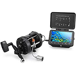 Lixada 1000TVL Fish Finder Caméra de pêche sous-Marine avec Moulinet Trolling 4,3″ LCD 8 Infrarouge IR LED Caméra de Vision Nocturne 140 ° Grand-Angle 15M / 30M