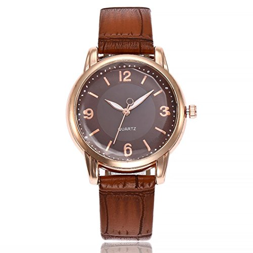 Uhren Dellin V245 Damen Beiläufige Bælte Quarz Edelstahl Band Marmorband Uhr analoge Armbanduhr (Braun)