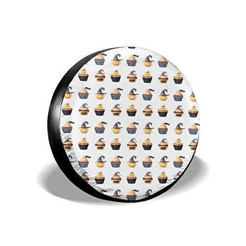 Sula-Lit Auto-Reifen- und Radabdeckungen, 15 Halloween-Cupcake-Doodles, Ersatz-Radabdeckung, passend für Jeep Camper RV SUV LKW Radschützer Zubehör 35,6 cm