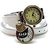 montre en cuir bracelet 3 rangs cabochon bronze illustré vintage, chat, fleurs, blanc