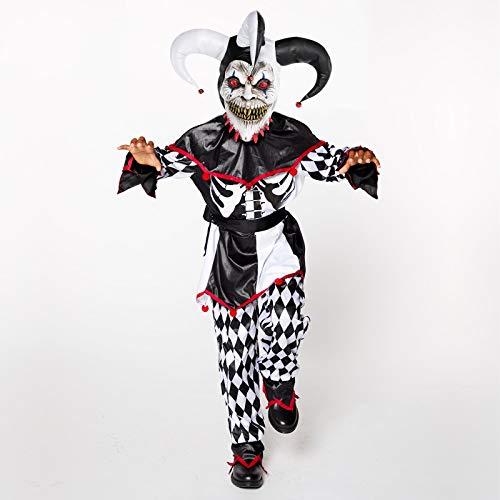 Horror Narr - Clown Halloween Kostüm Kinder Jugendliche Jungen (Narr Kinder Kostüme)