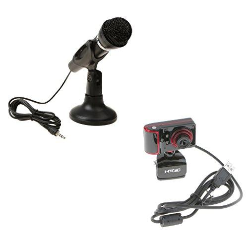 H HILABEE Mini Dynamisches Mikrofon Mikrofon Mit Ständer + Webcam Für PC Desktop Karaoke Skype