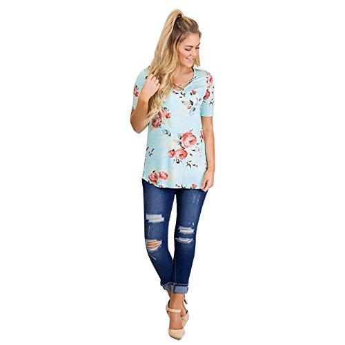 Longra Donna O-Collar Print T-shirt congiunta di giunzione Verde