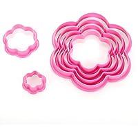 BEAUTOP - Juego de 6 moldes para tartas, diseño de estrellas y corazones, plástico, Rose Red, flor