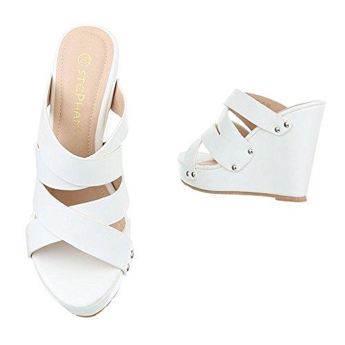 Ital-Design Pantoletten Damen Schuhe Jazz & Modern Keilabsatz/Wedge Keilabsatz Sandalen/Sandaletten Weiß
