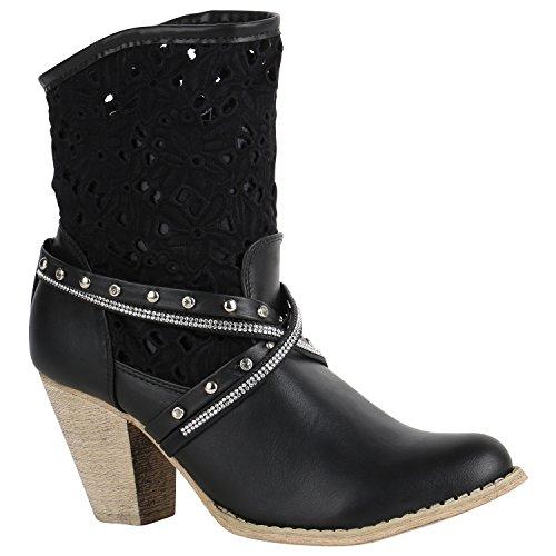 Damen Stiefeletten Cowboy Boots Strass Nieten Stiefel 151478 Schwarz Strass 36 Flandell (Strass Damen Stiefel)