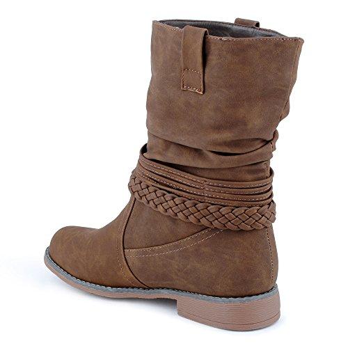 Damen Stiefeletten Stiefel Fransen Blockabsatz Schnalle Schlupf Biker Boots Schuhe Taup