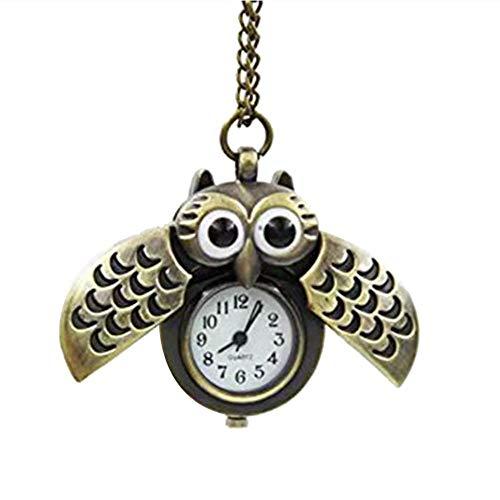aloiness Metal Owl Llavero Reloj Llavero Bolsa Bolsillo de Coche Ornamentos Colgantes para Mujeres Hombres Recuerdo Regalo de Cumpleaños (Brown)